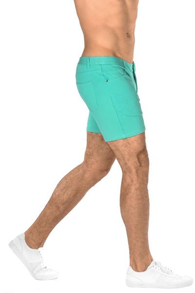 ST33LE Stretch Knit Jeans Shorts | Aqua ST-1932-AQUA - Mens Shorts - Side View - Topdrawers Clothing for Men