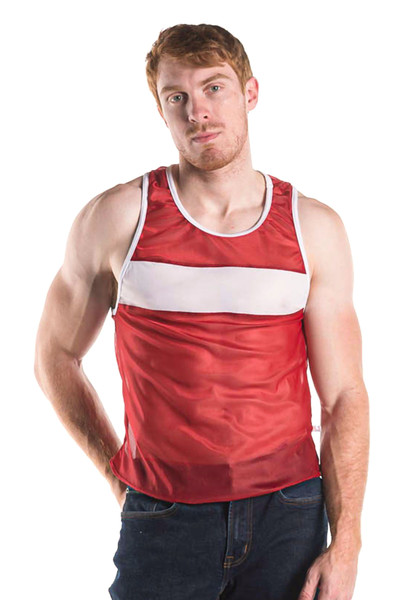 Go Softwear AJ Decathlon Competition Tank 8541-BUR Burgundy - Mens Athletic Tank Tops - Front View - Topdrawers Clothing for Men