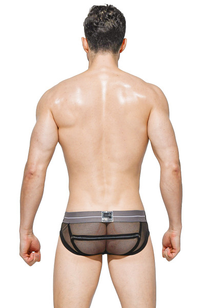 Private Structure Momentum Orange Harness Mini Brief MIUX4077-BL Black - Mens Fetish Briefs - Rear View - Topdrawers Underwear for Men