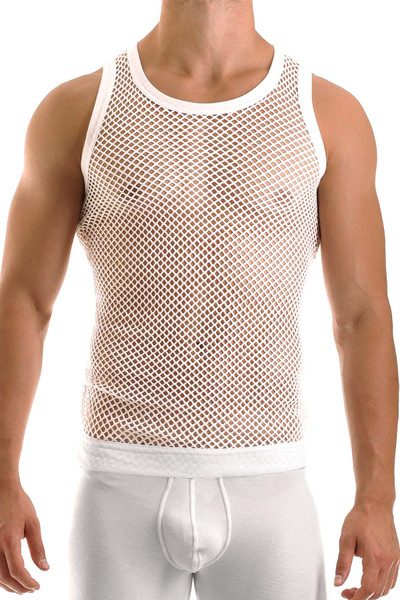 Modus Vivendi C-Through Tank Top 07731-WH White - Mens Tank Tops - Front View - Topdrawers Clothing for Men