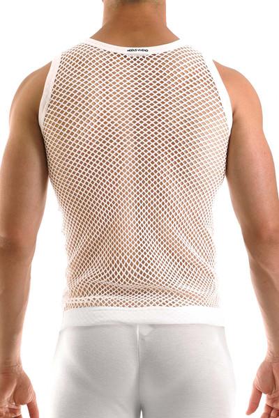 Modus Vivendi C-Through Tank Top 07731-WH White - Mens Tank Tops - Rear View - Topdrawers Clothing for Men