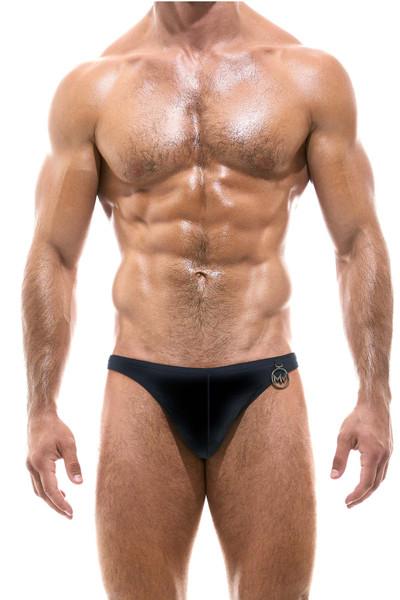 Modus Vivendi Glam Meander Low Cut Swim Brief AS2111-BL Black - Mens Swim Bikini Briefs - Front View - Topdrawers Swimwear for Men