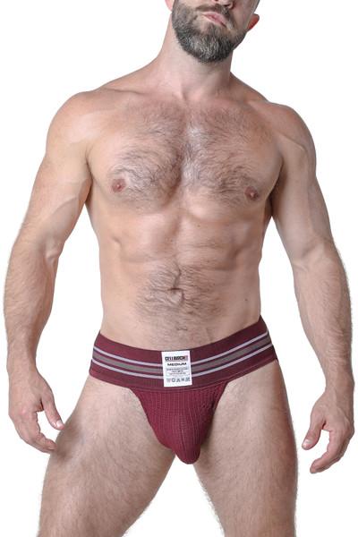 CellBlock 13 Tight End Jockstrap CBU133-BUR Burgundy - Mens Jockstraps - Front View - Topdrawers Underwear for Men