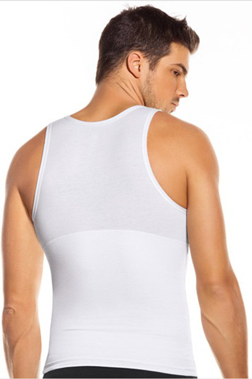 Leo Extra Firm Control Tank 035013 White from Topdrawers Underwear for Men - Back View