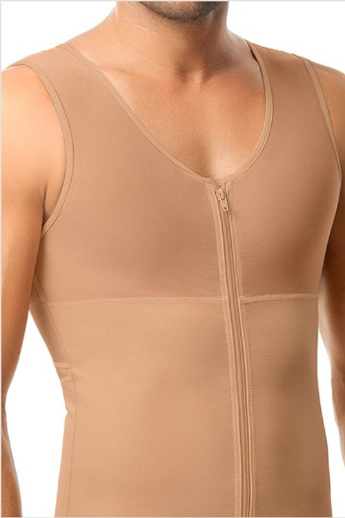 Leo Torso Toner Body Shaper for Men 035000 from Topdrawers Underwear - Nude - Close Front View