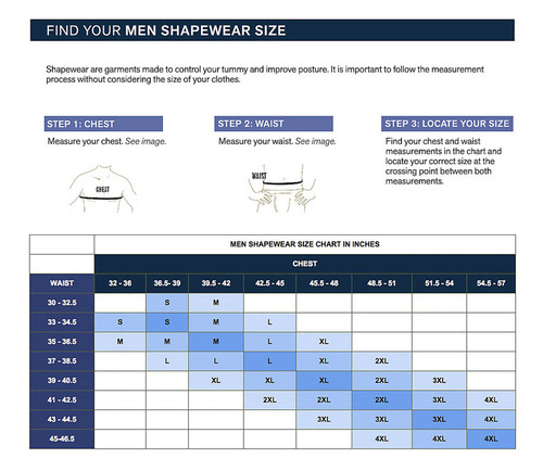 Leo Torso Toner Body Shaper for Men 035000 from Topdrawers Underwear - Size Chart