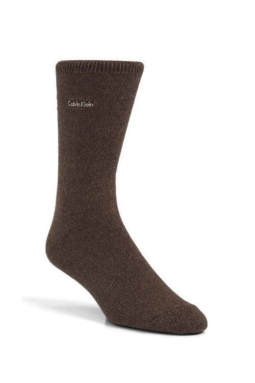 Calvin Klein Signature Flat Knit Cotton Blend Dress Sock MCG215 from Topdrawers Menswear - Brown