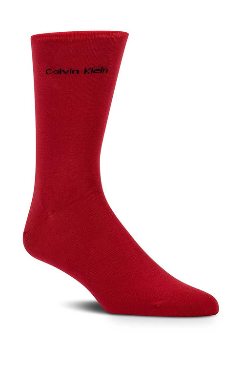 473 Red - Calvin Klein Giza Cotton Flat Knit Sock MCL117 from Topdrawers Menswear
