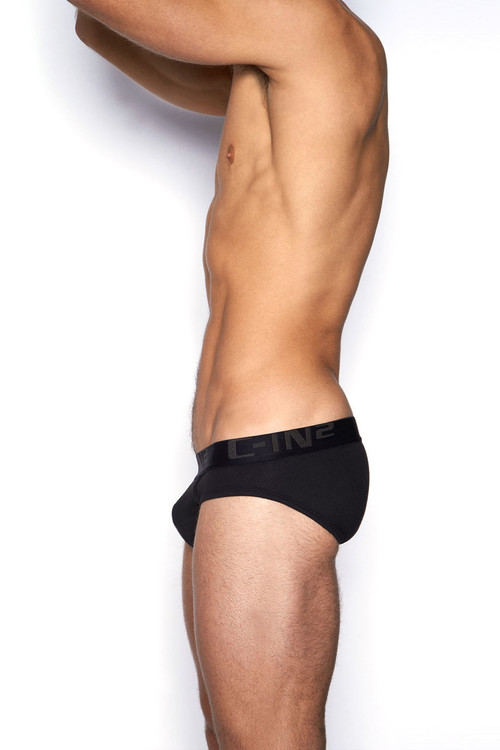 001 Black - C-IN2 Core Lo No Show Profile Brief 4013 - Side View - Topdrawers Underwear for Men