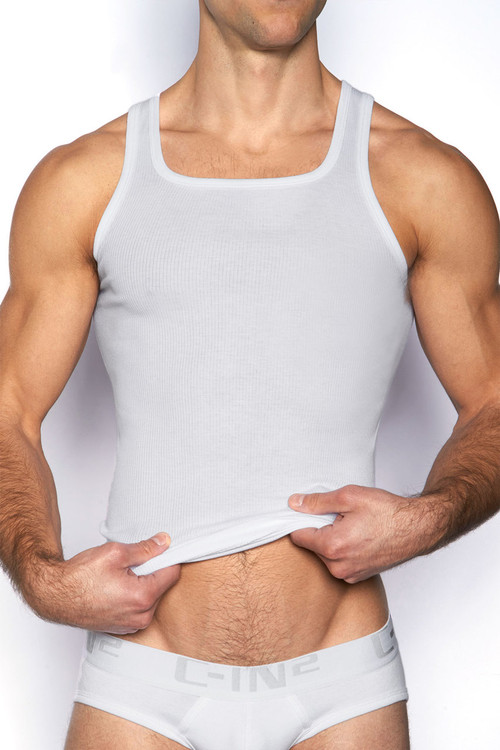 100 White - C-IN2 Core Square Neck Tank 4127 - Front View - Topdrawers Underwear for Men