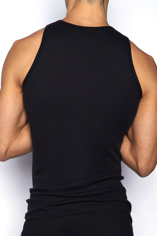 001 Black - C-IN2 Core Square Neck Tank 4127 - Rear View - Topdrawers Underwear for Men