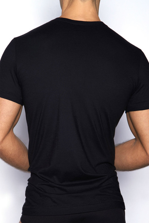 001 Black - C-IN2 Core Crew Neck T-Shirt 4105 - Rear View - Topdrawers Underwear for Men
