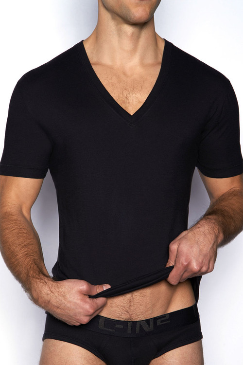 001 Black - C-IN2 Core Deep V-Neck T-Shirt 4111 - Front View - Topdrawers Underwear for Men
