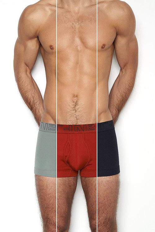 627 False Alarm / Chain Grey / Nocturnal Navy - C-IN2 3-Pack Army Trunk 1323 - Front View - Topdrawers Underwear for Men