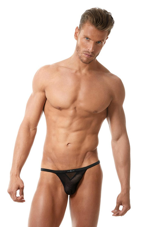 Black - Gregg Homme Vigor String 150514 - Front View - Topdrawers Underwear for Men