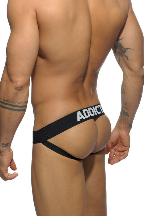 10 Black - Addicted Basic Mesh Push Up Jockstrap AD479P - Rear View - Topdrawers Underwear for Men