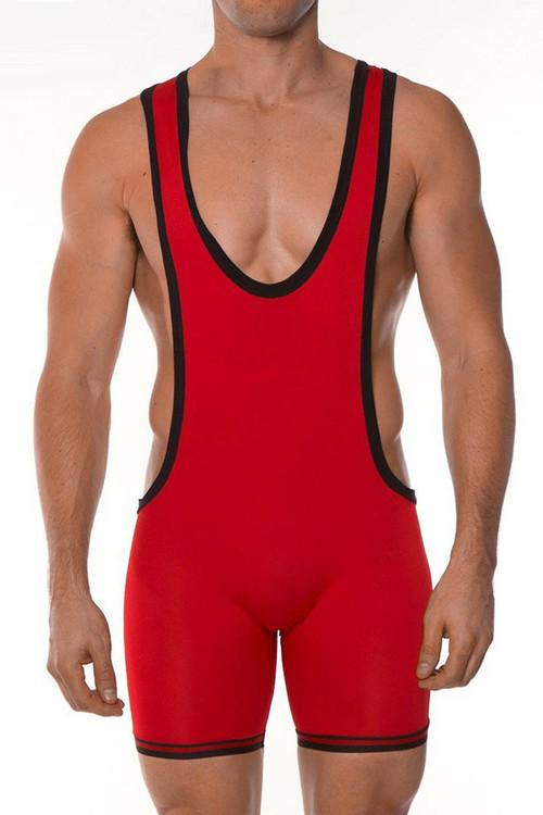 Red - Go Softwear AJ Gym Zephyr Wrestler 8778 - Front View - Topdrawers Menswear