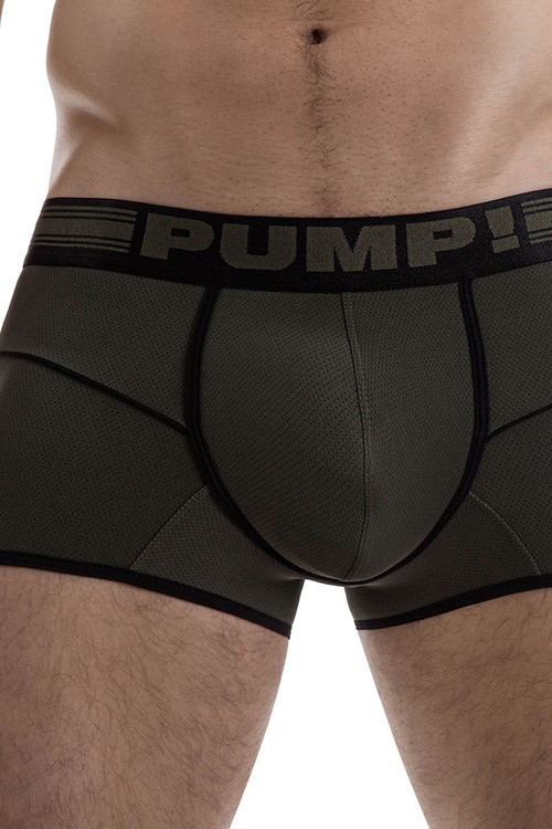 Military Green - PUMP! Free-Fit Boxer 11071 - Front View - Topdrawers Underwear for Men