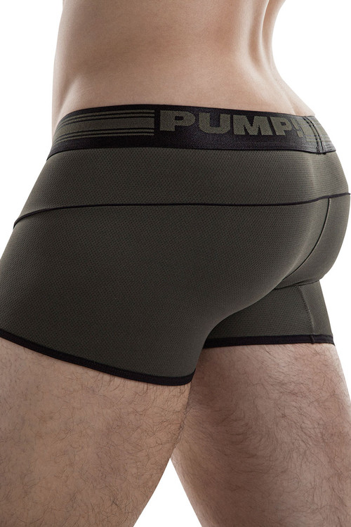 Military Green - PUMP! Free-Fit Boxer 11071 - Side View - Topdrawers Underwear for Men