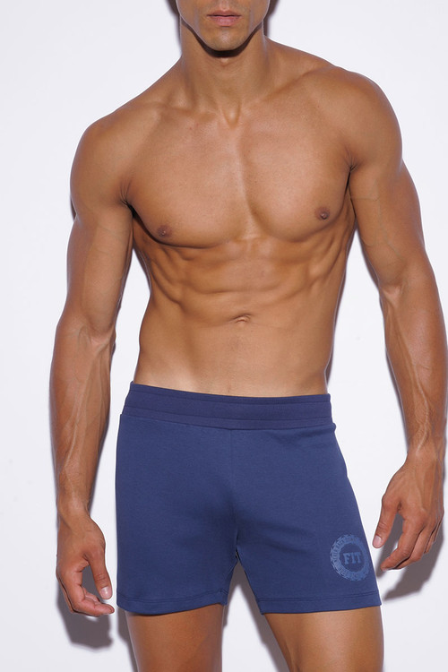 09 Navy Blue - ES Collection Stripes Fit Short SP138 - Front View - Topdrawers Menswear