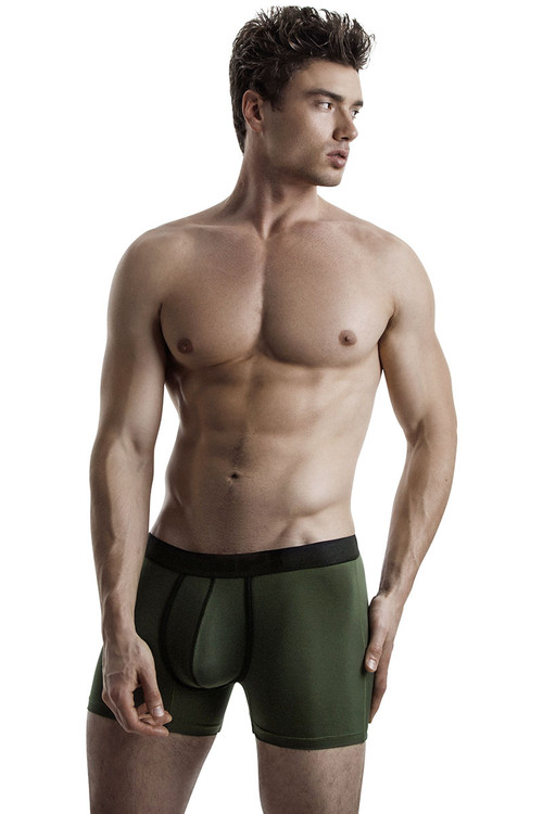 Military Green - PUMP! Cooldown Boxer 11067 - Model View - Topdrawers Underwear for Men