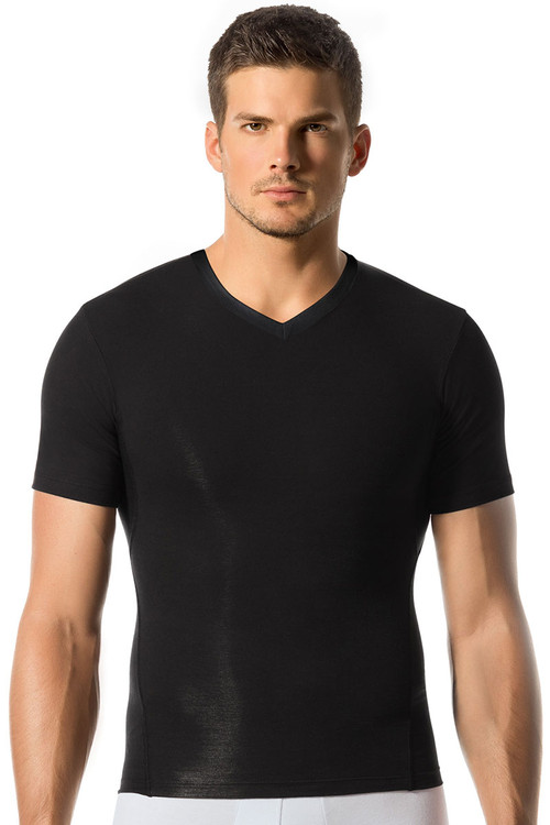 Black - Leo Sports Compression V-Neck Tee 35014 - Front View - Topdrawers Underwear for Men