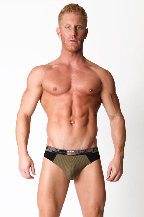 Army Green - CellBlock 13 Ward13 Seamless Jock Brief CBU107 - Front View - Topdrawers Underwear for Men