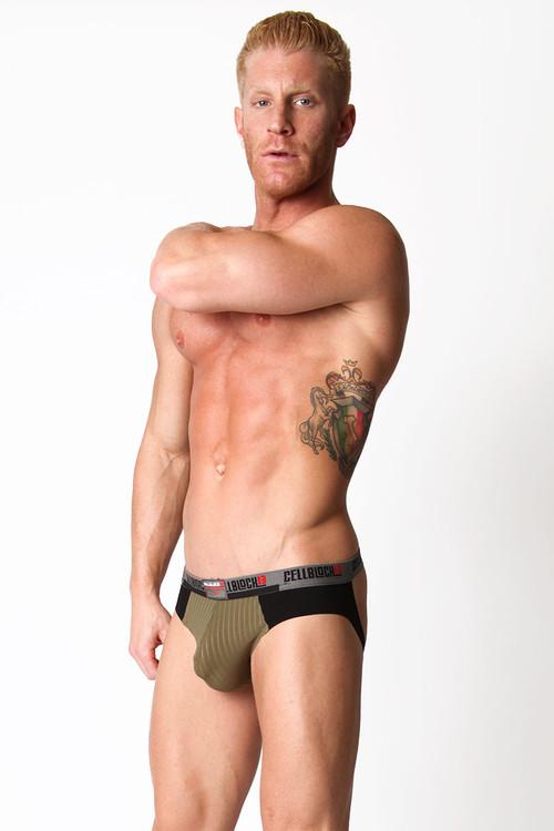 Army Green - CellBlock 13 Ward13 Seamless Jock Brief CBU107 - Side View - Topdrawers Underwear for Men