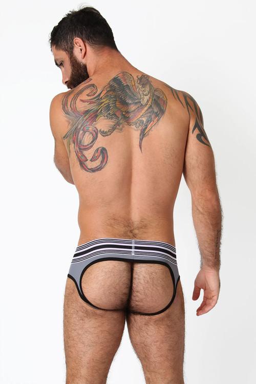 Red/White/Grey - CellBlock 13 Cellmate Jock Brief CBU111 - Rear View - Topdrawers Underwear for Men