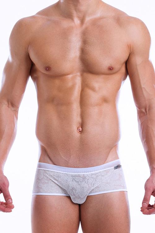 White - Modus Vivendi Lacenet Brazil Cut Boxer 08613 - Front View - Topdrawers Underwear for Men