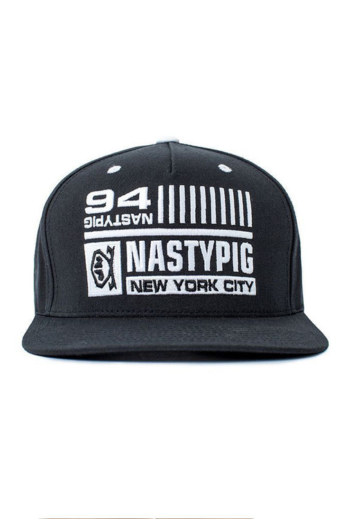 Black - Nasty Pig Pig State Snapback Flat Brim 8128  - Front View - Topdrawers Menswear