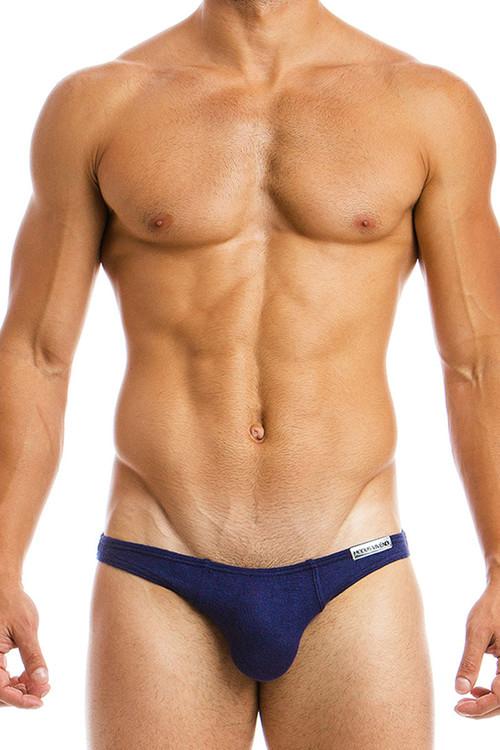 Marine Blue - Modus Vivendi Mohair Low Cut Brief 03711 - Front View - Topdrawers Underwear for Men