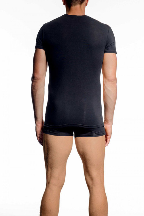 001 Black - JM NATURA Crew Neck T-Shirt 90381 - Rear View - Topdrawers Underwear for Men