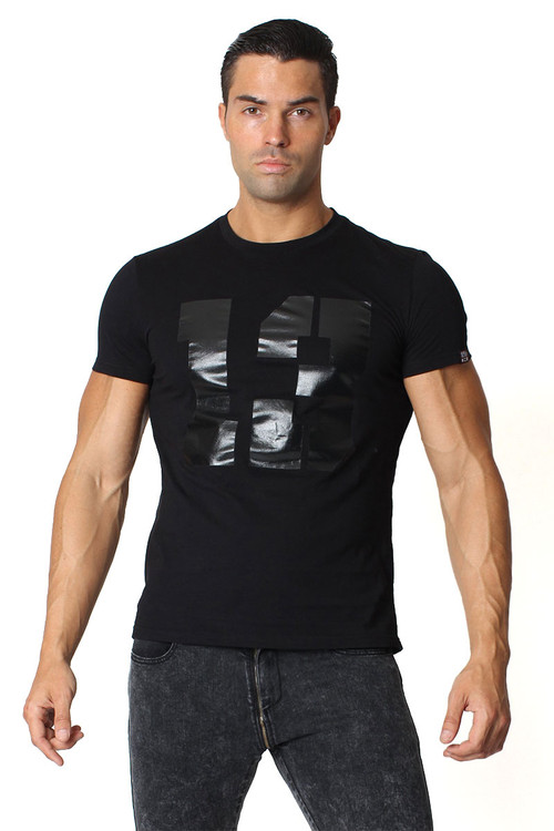 "Black - CellBlock 13 ""13"" Logo Tee CBS075 - Front View - Topdrawers Menswear"