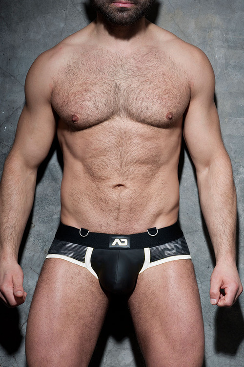 01 White - Addicted Fetish Camo Mesh Brief ADF71 - Front View - Topdrawers Fetish Underwear for Men