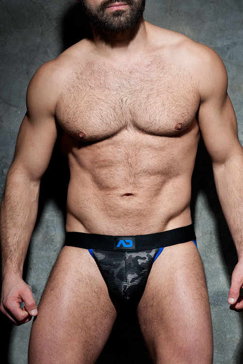16 Royal Blue - Addicted Fetish Camo Mesh Jock ADF73 - Front View - Topdrawers Fetish Underwear for Men