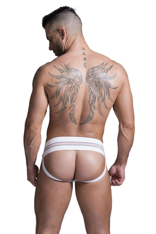 "GYM Old School Jockstrap w/ 3"" Waistband GYM004 - White - Mens Jockstraps - Rear View - Topdrawers Underwear for Men"