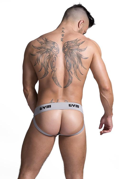 "GYM Workout Jockstrap w/ 2"" Waistband GYM002 - Heather Grey - Mens Jockstraps - Rear View - Topdrawers Underwear for Men"