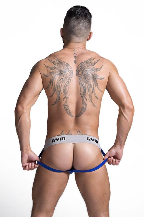 """GYM Workout Jockstrap w/ 2"""" Waistband GYM002 - Royal Blue - Mens Jockstraps - Rear View - Topdrawers Underwear for Men"""