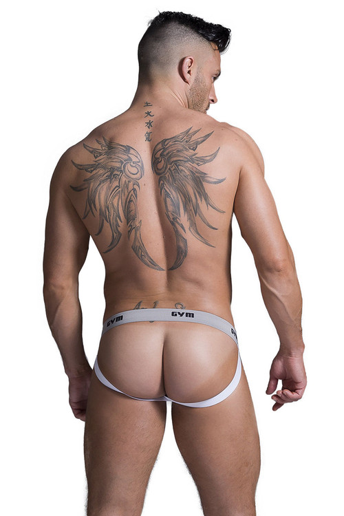 "GYM Swim/Run Jockstrap w/ 1"" Waistband GYM001- White - Mens Jockstraps - Rear View - Topdrawers Underwear for Men"