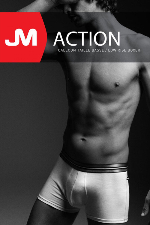 002 White - JM ACTION Low Rise Pouch Boxer 59094 - Box View - Topdrawers Underwear for Men
