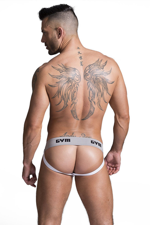 "GYM Workout Jockstrap w/ 2"" Waistband GYM002 - White - Mens Jockstraps - Rear View - Topdrawers Underwear for Men"