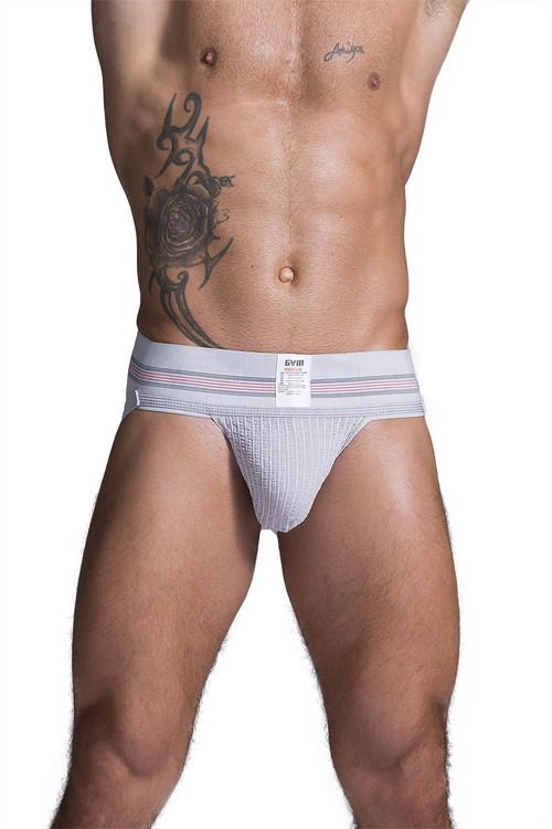 "GYM Old School Jockstrap w/ 3"" Waistband GYM004 - Heather Grey - Mens Jockstraps - Front View - Topdrawers Underwear for Men"