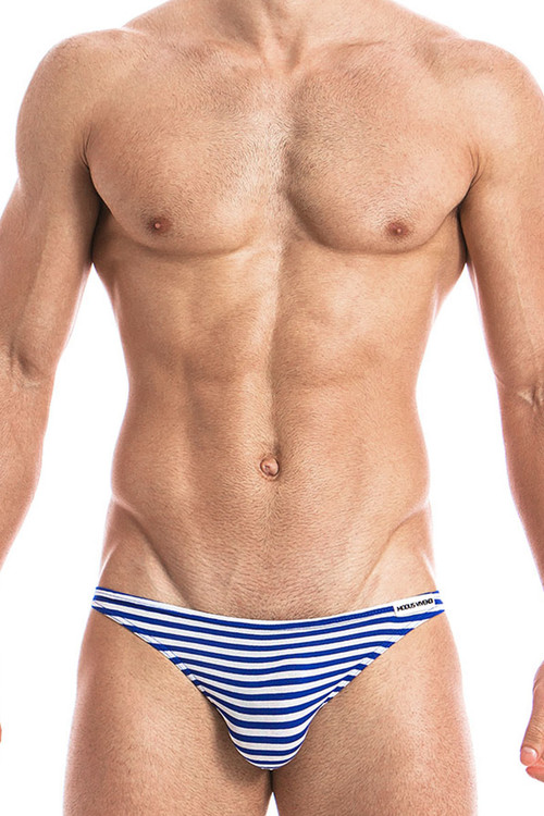 Blue - Modus Vivendi Marine Low Cut Brief 10812 - Front View - Topdrawers Underwear for Men