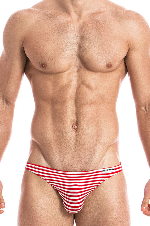 Red - Modus Vivendi Marine Low Cut Brief 10812 - Front View - Topdrawers Underwear for Men