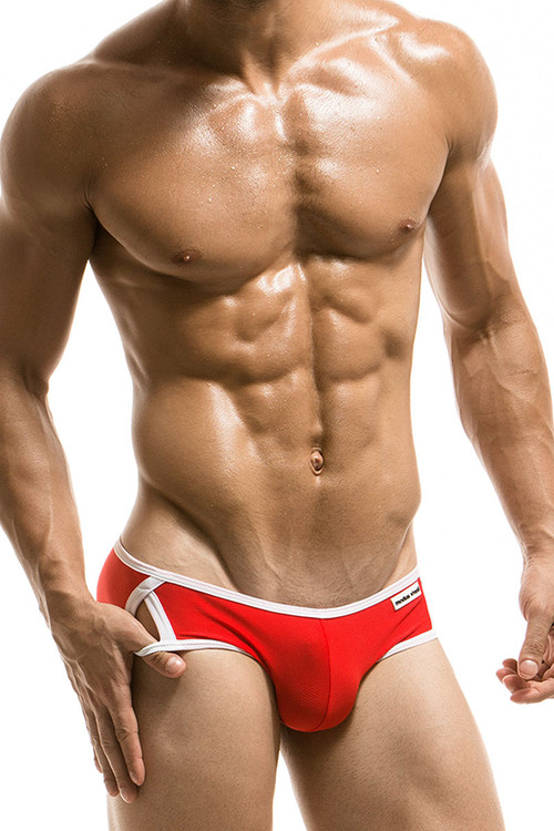 Red - Modus Vivendi Sporty Swim Brief S1716 - Front View - Topdrawers Swimwear for Men