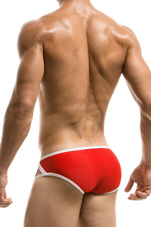 Red - Modus Vivendi Sporty Swim Brief S1716 - Rear View - Topdrawers Swimwear for Men