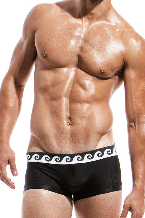 Black - Modus Vivendi Iconic Brazil Cut Swim Boxer FS1821 - Front View - Topdrawers Swimwear for Men