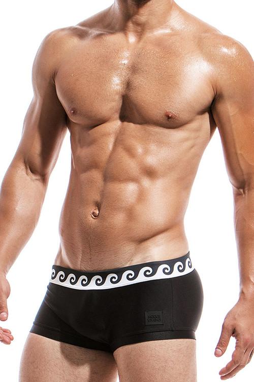 Black - Modus Vivendi Iconic Brazil Cut Swim Boxer FS1821 - Side View - Topdrawers Swimwear for Men