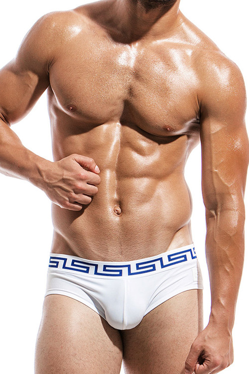 White - Modus Vivendi Meander Swim Brief DS1811 - Front View - Topdrawers Swimwear for Men